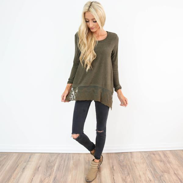 Olive Lace Sweater