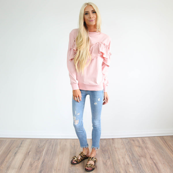 Dayna Ruffle Top in Blush