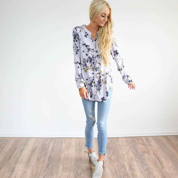 Lavender Floral Button Up