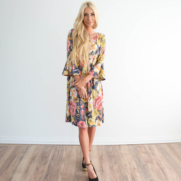 Falling Flowers Printed Dress