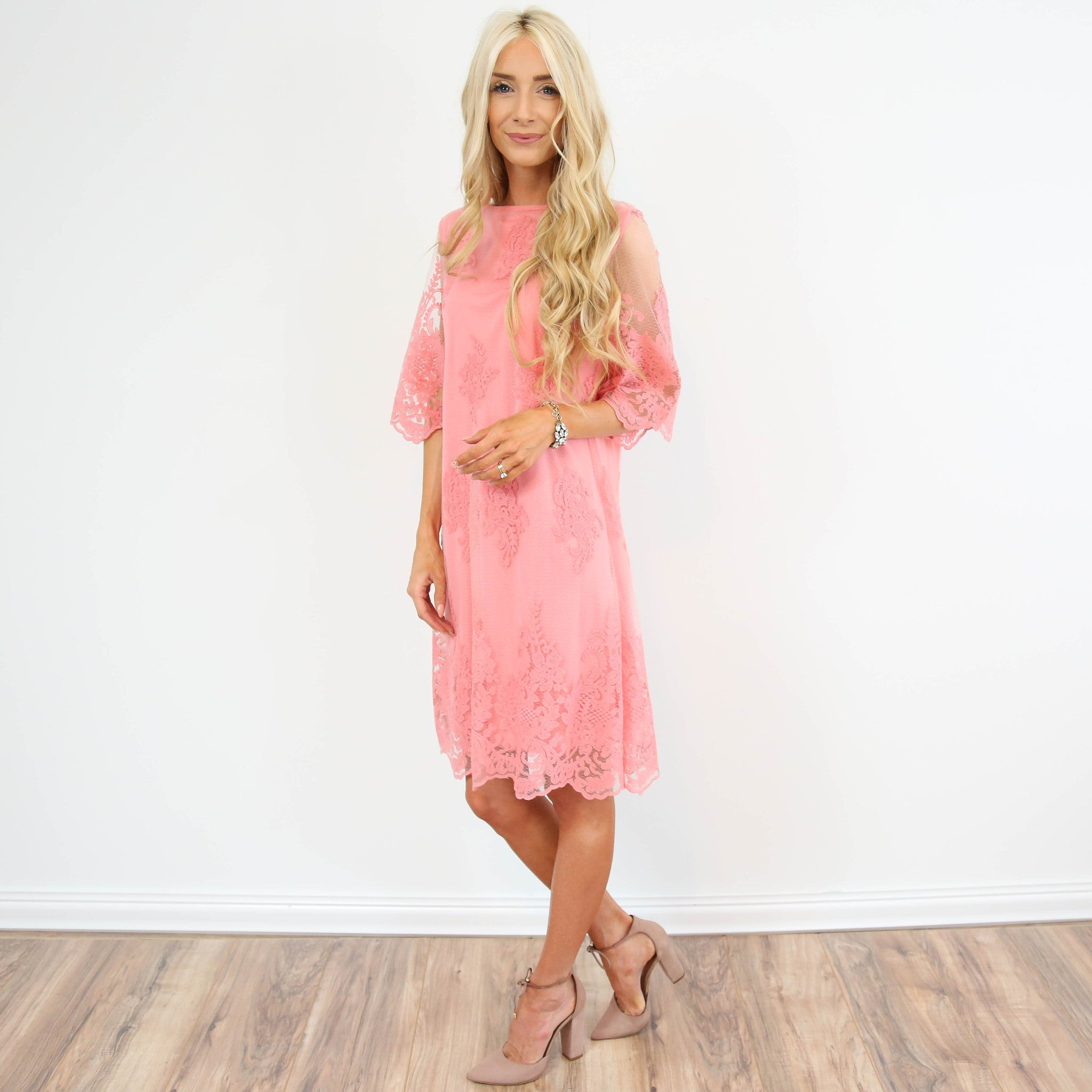 Kya Lace Dress in Pink