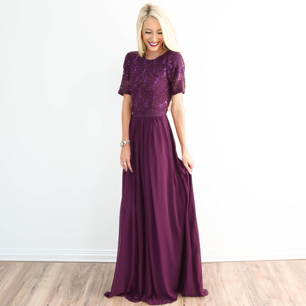 Dolce Lace Dress In Plum
