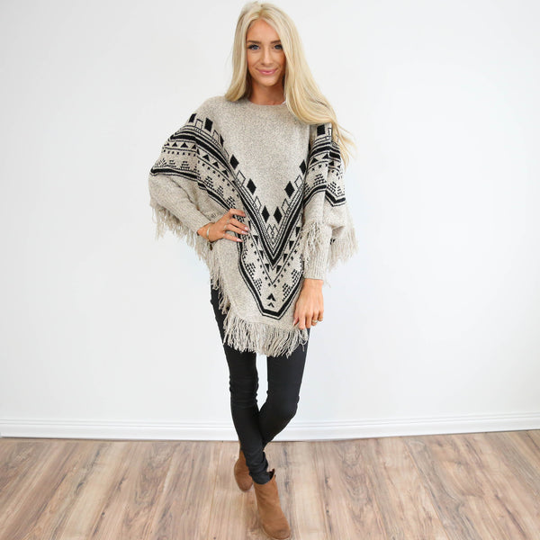 Printed Fringe Sweater