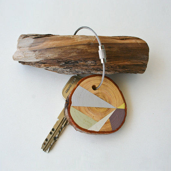 Hand Crafted Wooden Key Chain Brown and Grey