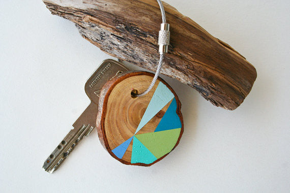 Hand Crafted Wooden Key Chain Blue and Green