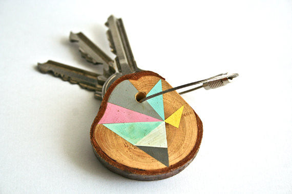 Hand Crafted Wooden Key Chain Mint and Grey