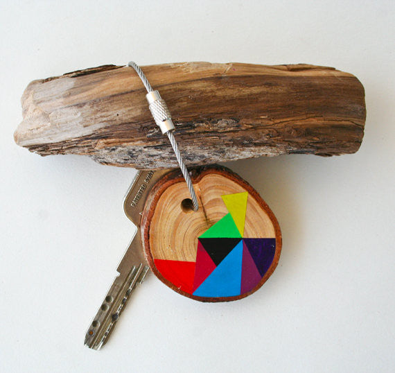 Hand Crafted Wooden Key Chain Brights