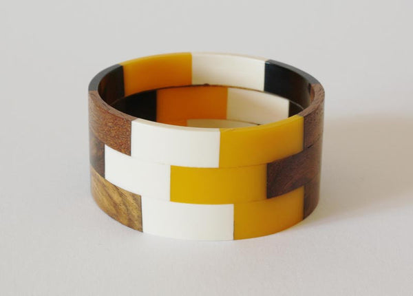 Vintage Wood Lucite Multi Bangle