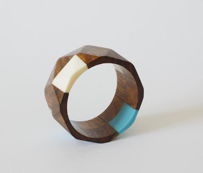 Vintage White and Blue Lucited Wooden Bangle