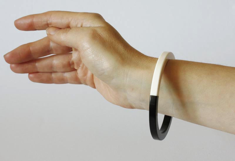 Mod Lucite Black and White Bangle