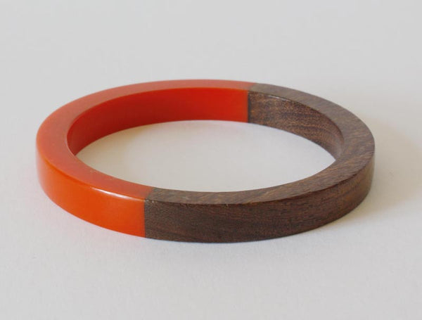 Vintage Flame Orange Lucite Wood Bangle