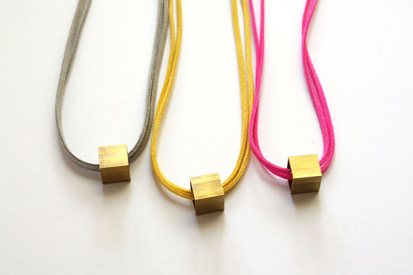 Minimalist Brass Cube Necklace