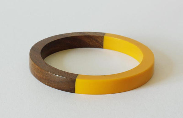 Vintage Yellow Lucite Wood Bangle