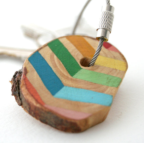 Hand Crafted Wooden Key Chain Multi Chevron