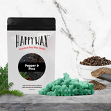 Happy Wax Pepper & Pine Wax Melts - All Happy Wax scented wax melts are made with 100% all natural soy wax and are infused with essential oils.