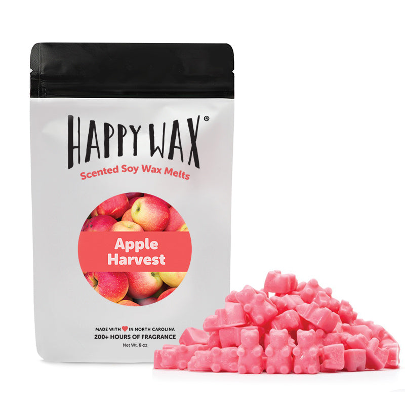 Apple Harvest Wax Melts - Happy Wax Soy Wax Melts - All Happy Wax melts are made with 100% all natural soy wax. Use our scented wax melts in any wax melt, cube, or tart warmer. Enjoy hours of flame-free home fragrance.
