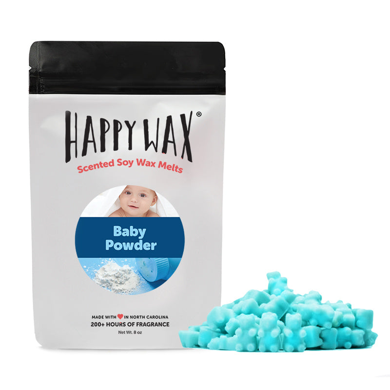 Baby Powder - 8 Oz. Half Pounder Pouch - All Happy Wax scented wax melts are made with 100% all natural soy wax and are infused with essential oils. Use with any scented wax melt, cube, or tart warmer for hours of flame-free home fragrance! Adorable bear-shaped scented wax melts make mixing & melting a breeze.