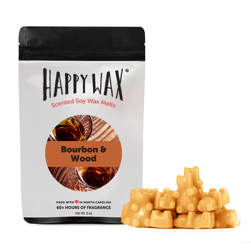 Happy Wax Bourbon & Wood Wax Melts - All Happy Wax scented wax melts are made with 100% all natural soy wax and are infused with essential oils.