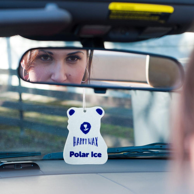 Happy Wax - Polar Ice Scented Car Cub Air Freshener - All Happy Wax Car Fresheners are infused with natural essential oils, hang from your rear view mirror and fill your car with fragrance -  (4-Pack $11.95)