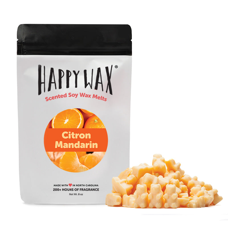 Happy Wax Citron Mandarin Scented Soy Wax Melts - All Happy Wax scented wax melts are made with 100% all natural soy wax and are infused with essential oils. Use with any scented wax melt, cube, or tart warmer for hours of flame-free home fragrance! Adorable bear-shaped scented wax melts make mixing & melting a breeze.