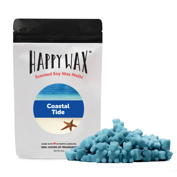 Happy Wax - Coastal Tide Wax Melts - All Happy Wax melts are made with 100% all natural soy wax and are infused with essential  oils.
