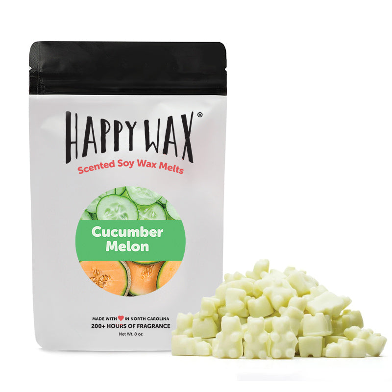 Happy Wax Cucumber Melon Soy Wax Melts - All Happy Wax scented wax melts are made with 100% all natural soy wax and are infused with essential oils. Use with any scented wax melt, cube, or tart warmer for hours of flame-free home fragrance! Adorable bear-shaped scented wax melts make mixing & melting a breeze.