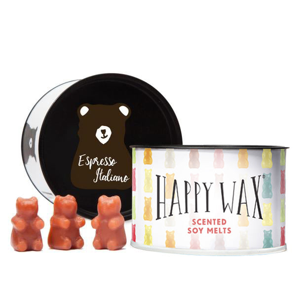 Happy Wax Espresso Italiano Soy Wax Melts - 3.6 Oz. Classic Tin - Scented wax melts made with all natural soy wax, infused with essential oils. Use Happy Wax melts with any wax melt, cube, or tart wax warmer for hours of flame-free home fragrance.