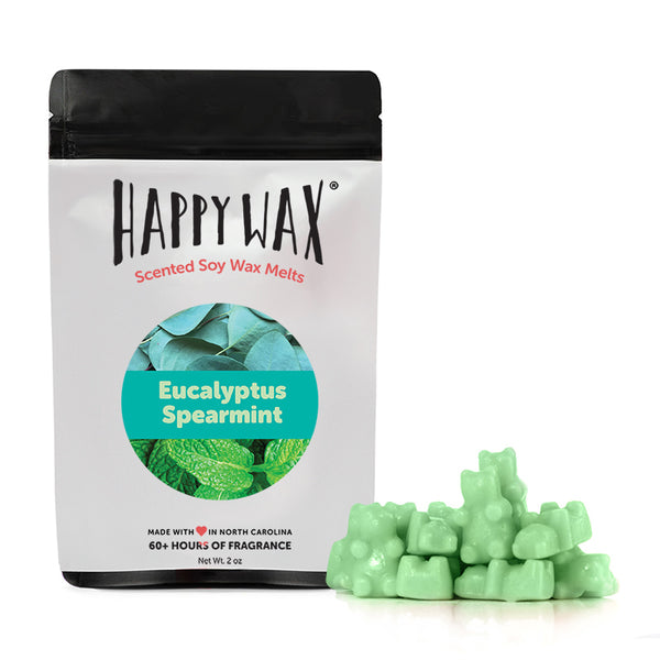 Happy Wax Eucalyptus Spearmint Wax Melts - All Happy Wax scented wax melts are made with 100% all natural soy wax and are infused with essential oils. Use with any scented wax melt, cube, or tart warmer for hours of flame-free home fragrance! Adorable bear-shaped scented wax melts make mixing & melting a breeze.