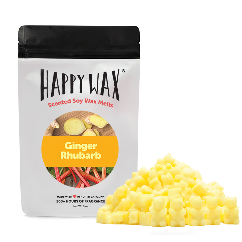 Ginger Rhubarb Wax Melts - Happy Wax Soy Wax Melts - All Happy Wax melts are made with 100% all natural soy wax. Use our scented wax melts in any wax melt, cube, or tart warmer. Enjoy hours of flame-free home fragrance.