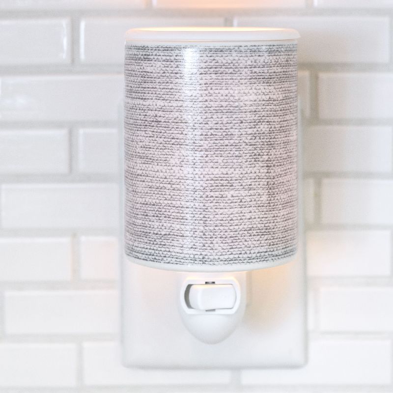 Gray Linen Outlet Plug In Wax Warmer
