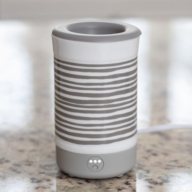 Happy Wax - Gray Stripe Signature Wax Melt Warmer  -  Our Happy Wax Signature Warmer is compatible with scented wax, melts, cubes and tarts.