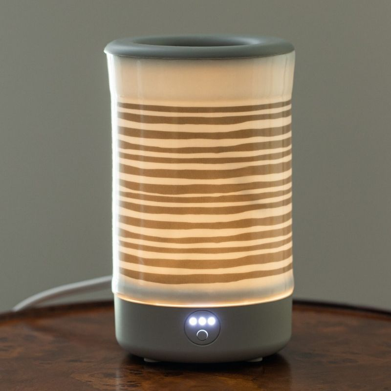 Happy Wax - Gray Stripe Signature Wax Melt Warmer - - Use our electric wax warmers with any scented wax melt, cube or tart!