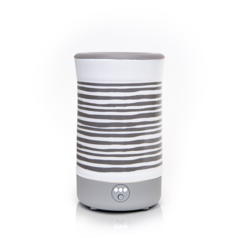 Happy Wax - Gray Stripe Signature Wax Melt Warmer - Use our electric wax warmers with any scented wax melt, cube or tart!