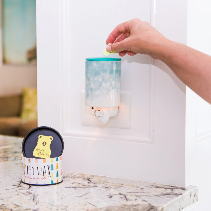 Happy Wax - Watercolor Outlet Plug-In Wax Warmer - Use our outlet wax melt warmer with any scented wax melts, cubes or tarts for hours of flame-free home fragrance!