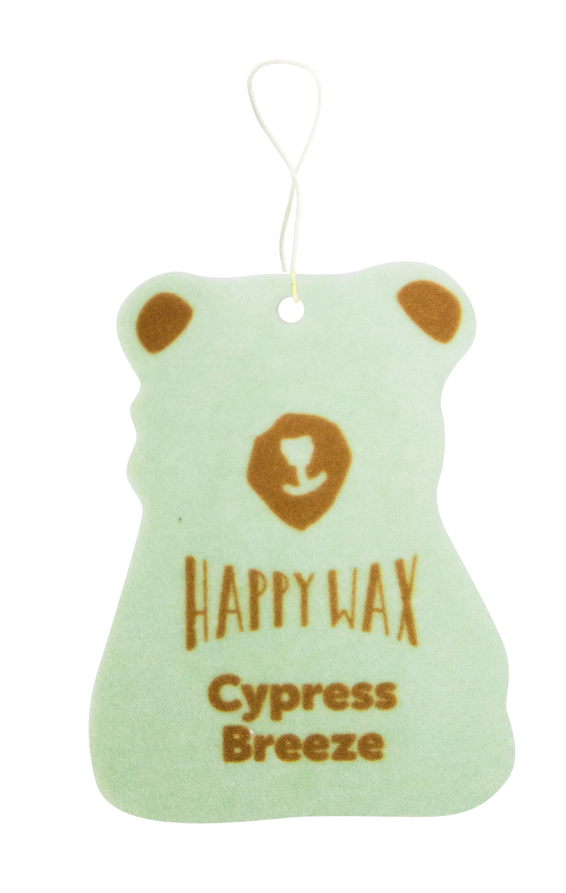 Happy Wax - Cypress Breeze Scented Car Air Freshener - A natural take on a new car smell - All Happy Wax scented car cub air fresheners are infused with natural essential oils! Hang our scented car air fresheners from your rear view mirror, you'll opening your car door after a long day at work! (4-Pack $11.95)