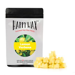 Happy Wax Lemon Verbena Wax Melts - All Happy Wax scented wax melts are made with 100% all natural soy wax and are infused with essential oils. Use with any scented wax melt, cube, or tart warmer for hours of flame-free home fragrance! Adorable bear-shaped scented wax melts make mixing & melting a breeze.