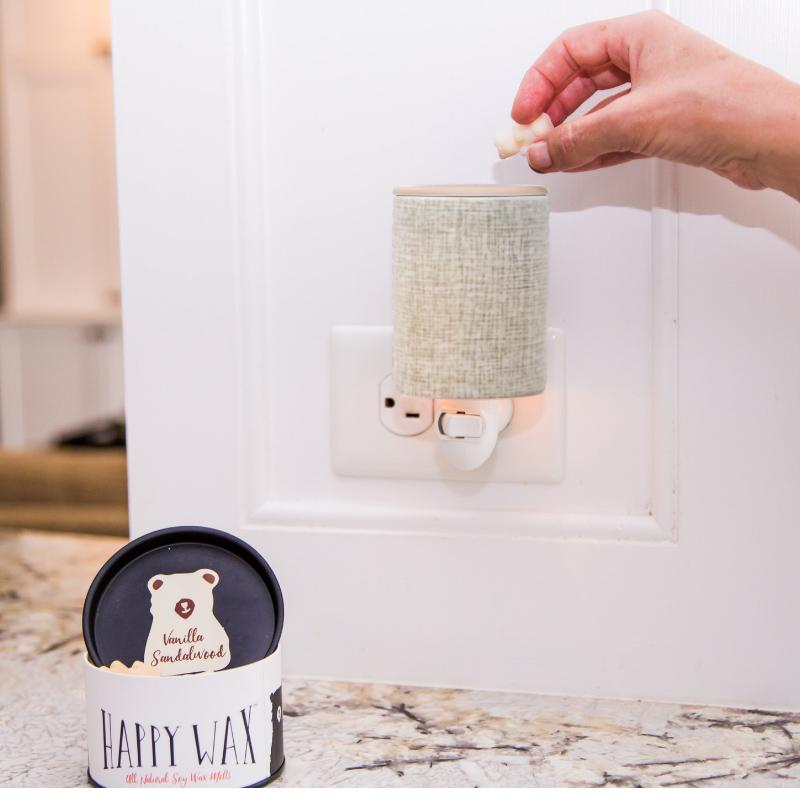 Happy Wax - Natural Canvas Outlet Plug-In Wax Warmer - Use our electric wax melter with any scented wax melts, cubes or tarts for hours of flame-free home fragrance!