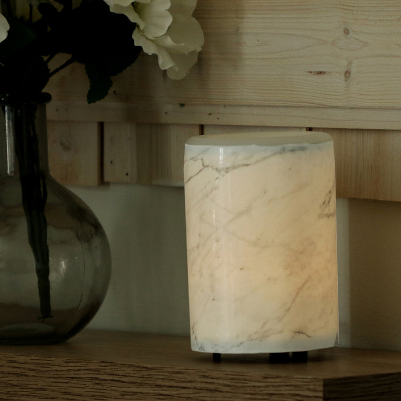 "Happy Wax Marble Mod Wax Warmer - The Mod Wax Melt Warmer is the perfect way to fragrance your home flame-free! A built-in ceramic heater gently warms any scented wax melt, cube, or tart releasing your favorite fragrances in minutes! Looking for a wax warmer with a timer? The Mod Wax Melt Warmer also includes our ""no scrape"" silicone wax melt removal dish. Simply ""pop"" used wax right out of the dish to change scents in seconds."