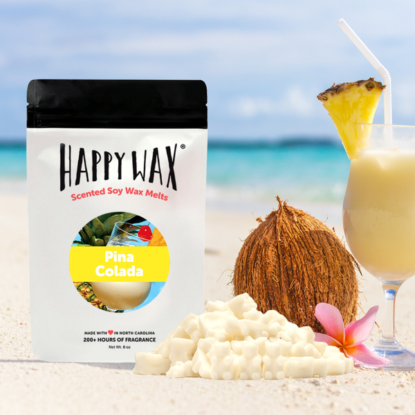 Happy Wax Pina Colada Wax Melts - All Happy Wax melts are made with 100% all natural soy wax and are infused with essential oils