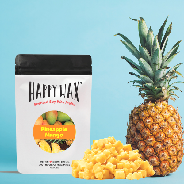 Happy Wax - Pineapple Mango Wax Melts - All Happy Wax scented wax melts are made with 100% all natural soy wax and are infused with essential oils!
