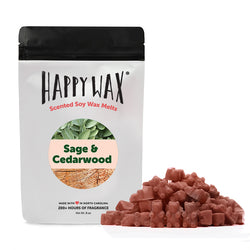 Happy Wax Sage & Cedarwood Wax Melts - All Happy Wax scented wax melts are made with 100% all natural soy wax and are infused with essential oils. Use with any scented wax melt, cube, or tart warmer for hours of flame-free home fragrance! Adorable bear-shaped scented wax melts make mixing & melting a breeze.