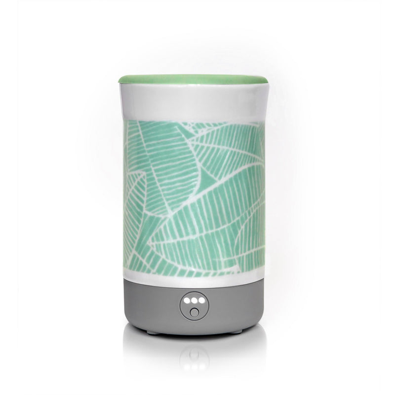 "Happy Wax - Palm Leaf Signature Wax Melt Warmer - Use our electric wax melt warmer with any scented wax melts, cubes or tarts for hours of flame-free home fragrance. Includes an integrated 3-6-9 hour timer and a patent-pending ""no scrape"" silicone wax melt removal dish."