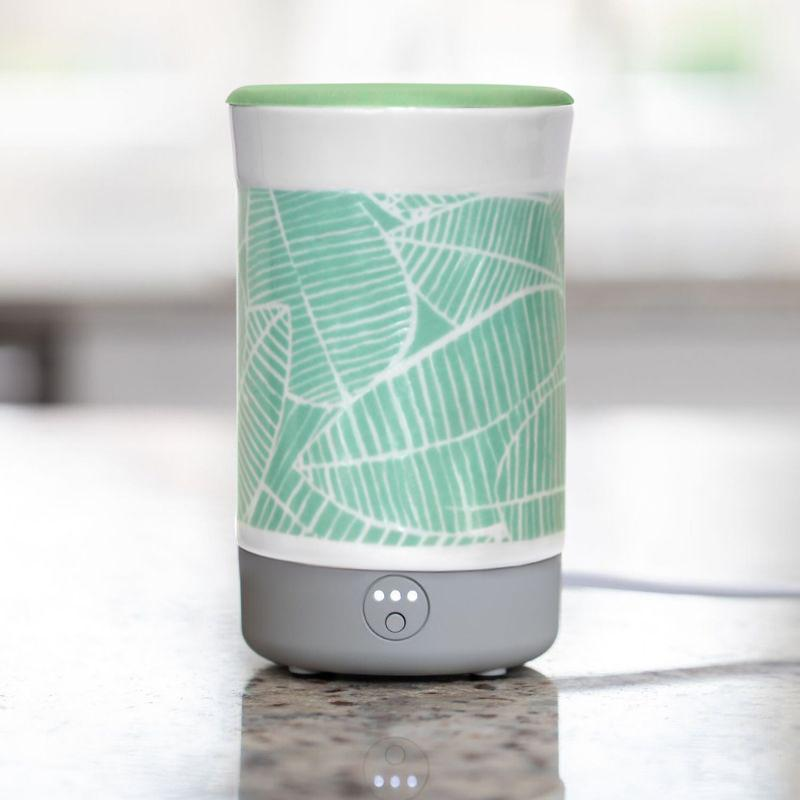 Happy Wax Palm Leaves Signature Wax Melt Warmer - Use our electric wax melter with any scented wax melts, cubes or tarts for flame-free home fragrance. Our large ceramic tabletop wax warmer features a 3-6-9 hour automated timer and a no scrape silicone wax melt removal dish.