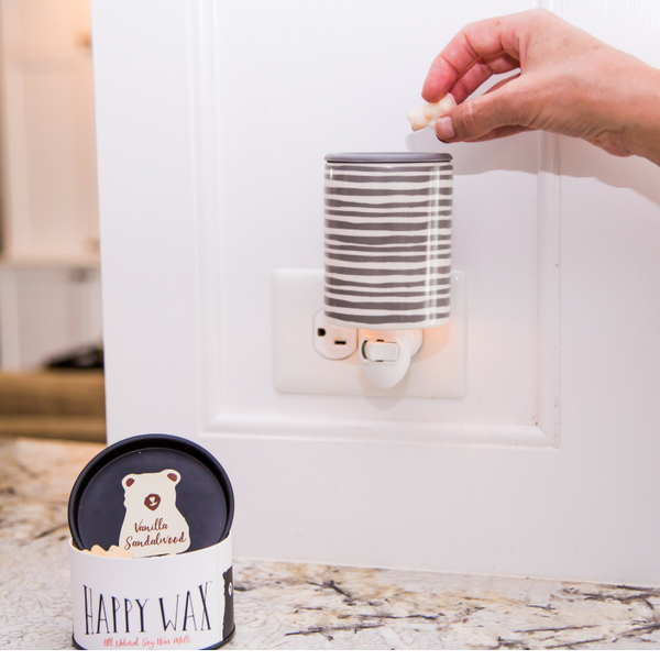 Happy Wax Gray Stripe Outlet Plug-In Wax Warmer - $14.95