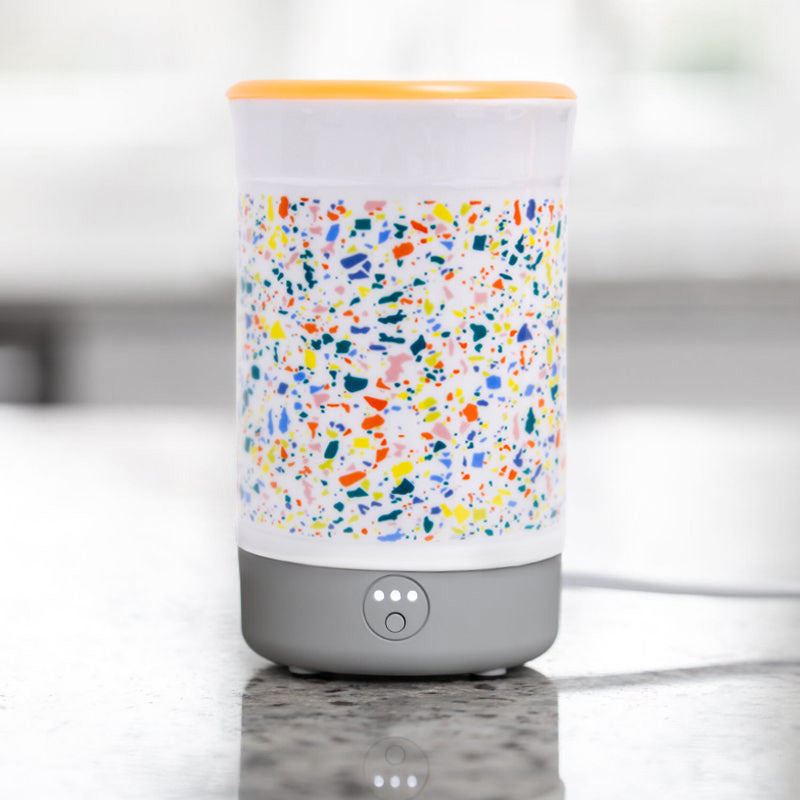 Happy Wax Terrazo Signature Wax Melt Warmer - Use our electric wax melter with any scented wax melts, cubes or tarts for hours of flame-free home fragrance.