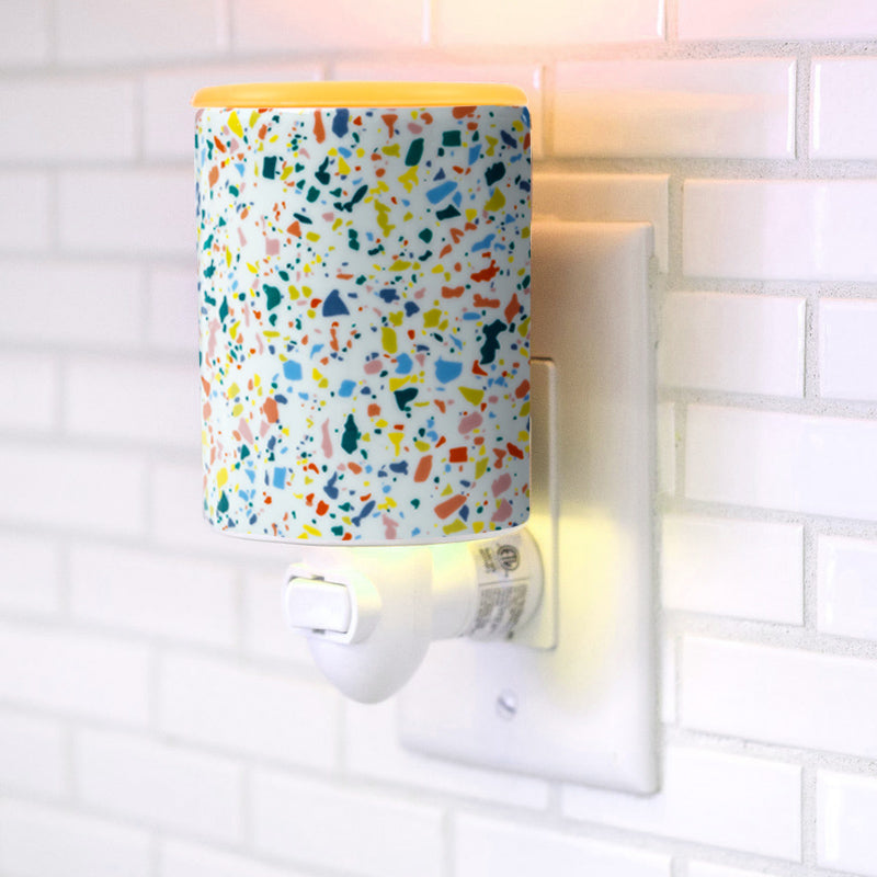 "Happy Wax - Terrazzo Outlet Plug-In Wax Warmer - Happy Wax electric wax warmers include our patent-pending ""no-scrape"" silicone wax melt removal dish. Use our scented wax warmers with any wax melts, cubes, or tarts for hours of flame-free home fragrance."