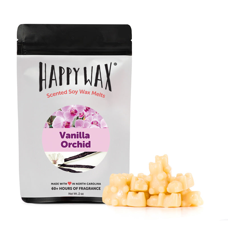 Happy Wax Vanilla Orchid Wax Melts - All Happy Wax scented wax melts are made with 100% all natural soy wax and are infused with essential oils. Use with any scented wax melt, cube, or tart warmer for hours of flame-free home fragrance! Adorable bear-shaped scented wax melts make mixing & melting a breeze.