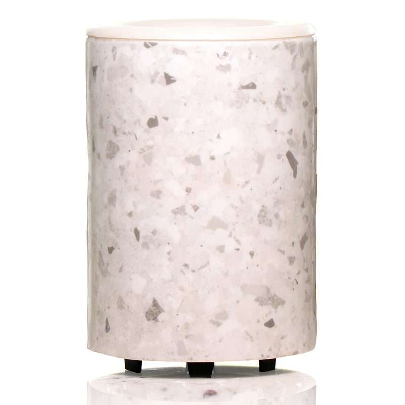 "Happy Wax White Terrazzo Mod Warmer - The Mod Wax Melt Warmer is the perfect way to fragrance your home flame-free! A built-in ceramic heater gently warms any scented wax melt, cube, or tart releasing your favorite fragrances in minutes! Looking for a wax warmer with a timer? The Mod Wax Melt Warmer also includes our ""no scrape"" silicone wax melt removal dish. Simply ""pop"" used wax right out of the dish to change scents in seconds. The Mod Wax Warmer features a 3-6-9 hour auto shut off timer."