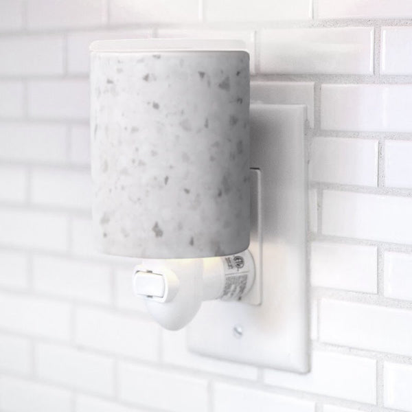 "Happy Wax - White Terrazzo Outlet Plug-In Wax Warmer - Happy Wax electric wax warmers include our patent-pending ""no-scrape"" silicone wax melt removal dish. Use our scented wax warmers with any wax melts, cubes, or tarts for hours of flame-free home fragrance."