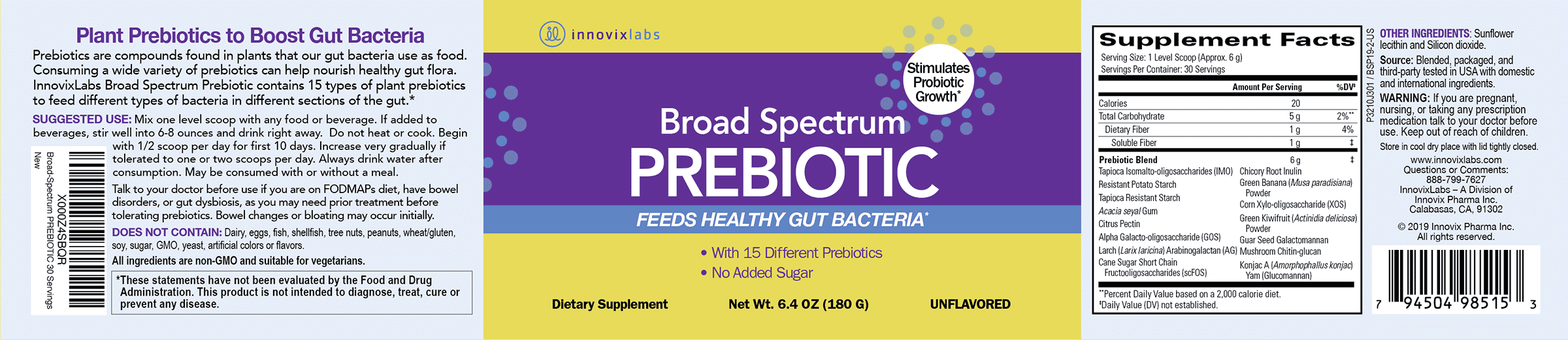 Broad Spectrum Prebiotic label